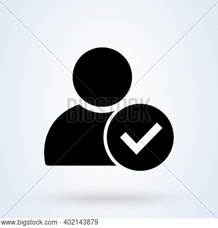 User Profile Sign Web Icon With Check Mark Glyph. User Authorized Vector Illustration Design Item. S