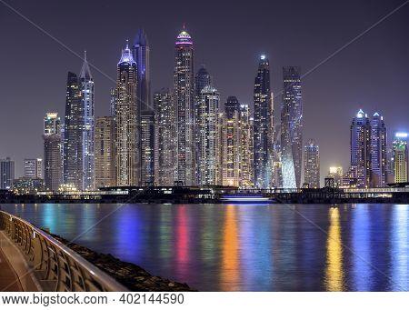Dubai, Uae - October 28, 2020.dubai Marina Night Scene With City Lights, Luxury New High Tech Town I