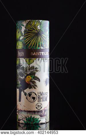 Prague,czech Republic - 4 January,2021:   Bottle Of La Maison Rhum, Santa Lucia.this Vintage Was Sel