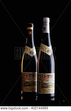 Prague,czech Republic -  6 January, 2021: Two Bottles Of Riesling. Since 1720 Only Riesling Has Been