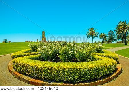Flowery Roundabout In Front Of Fremantle War Memorial Of Fremantle Harbor In Perth In Western Austra
