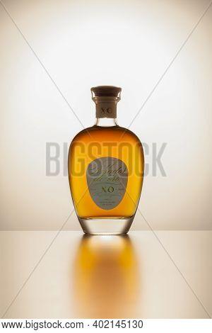 Prague,czech Republic - 27  December,2020: Bottle Of El Pasador De Oro. The Rum Is A Blend Of Molass