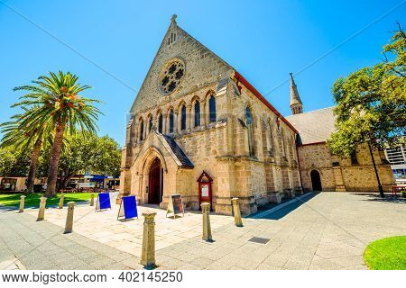Facade Entrance Of St Johns Anglican Church Or St John The Evangelist Church In High Street, Is An A