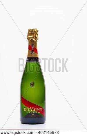 Prague,czech Republic - 26  November,2020: G.h.mumm Champagne. G. H. Mumm & Cie, Situated In Reims I
