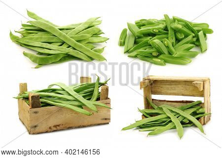 bunch of string beans and some in a wooden box on a white background
