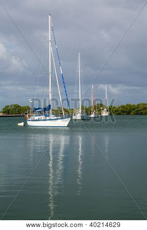 Yachts Moored In No Name Harbor Florida