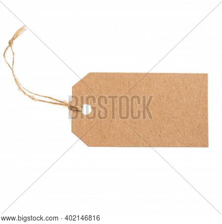 Kraft Paper Tag Concept. Beige Recycled Craft Blank Parcel Label Isolated On White Background, Textu