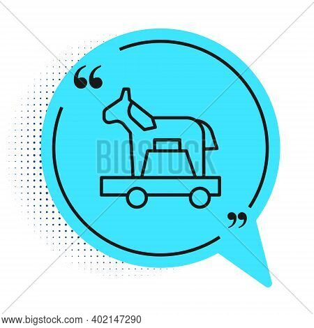 Black Line Trojan Horse Icon Isolated On White Background. Blue Speech Bubble Symbol. Vector