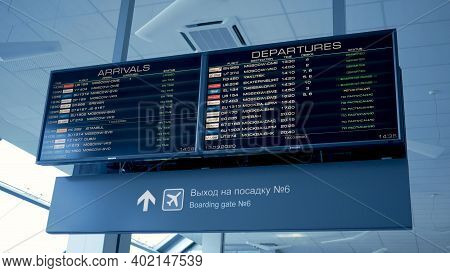 Mineral'nyye Vody, Russia - March 13, 2020: Electronic Board With Arrival And Departure Flights Dela