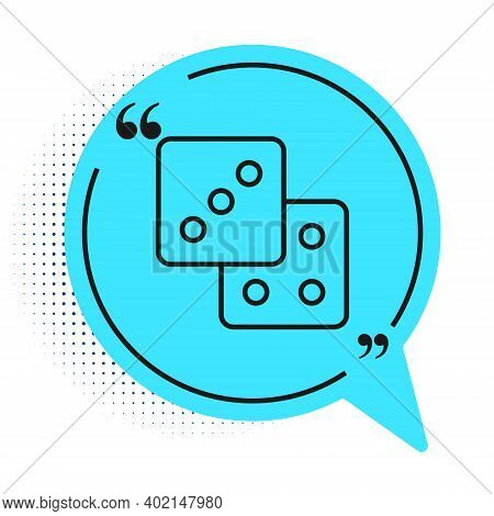 Black Line Game Dice Icon Isolated On White Background. Casino Gambling. Blue Speech Bubble Symbol.