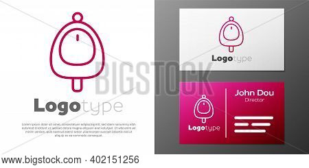Logotype Line Toilet Urinal Or Pissoir Icon Isolated On White Background. Urinal In Male Toilet. Was