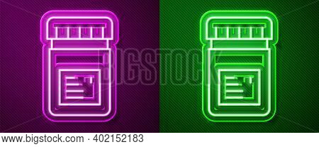 Glowing Neon Line Biologically Active Additives Icon Isolated On Purple And Green Background. Vector