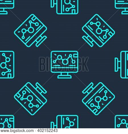 Green Line Genetic Engineering Modification On Laptop Icon Isolated Seamless Pattern On Blue Backgro