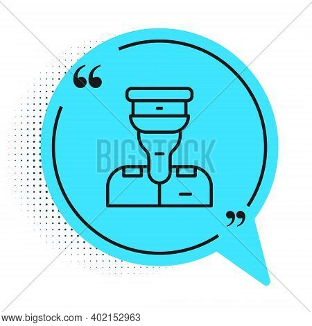 Black Line Train Conductor Icon Isolated On White Background. Blue Speech Bubble Symbol. Vector