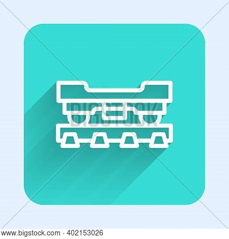 White Line Cargo Train Wagon Icon Isolated With Long Shadow. Freight Car. Railroad Transportation. G