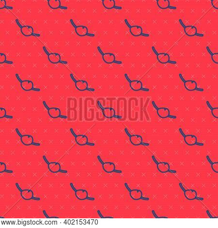 Blue Line Pirate Eye Patch Icon Isolated Seamless Pattern On Red Background. Pirate Accessory. Vecto