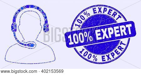Geometric Call Center Operator Mosaic Icon And 100 Percents Expert Seal Stamp. Blue Vector Rounded D