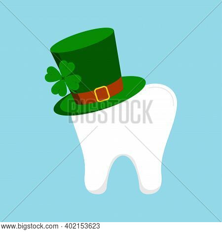 St Patrick Day Tooth In Green Leprechaun Hat With Clover. Dental Molar Tooth Irish Character With Gn