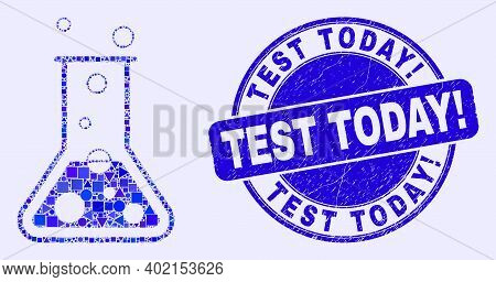 Geometric Chemical Retort Mosaic Icon And Test Today Exclamation Seal Stamp. Blue Vector Rounded Scr