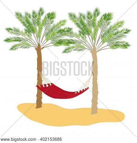 Hammock On A Palm Tree Vector Illustration. Warm Rest In A Red Hammock On The Sandy Beach. Isolated