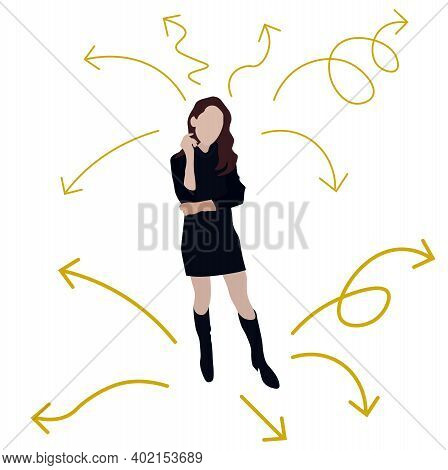Path Choice Woman Vector Stock Illustration. The Girl Stands At A Crossroads. Multitasking. Planning