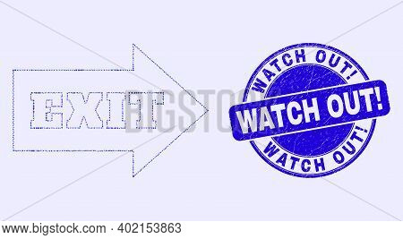 Geometric Exit Arrow Mosaic Icon And Watch Out Exclamation Stamp. Blue Vector Round Grunge Seal Stam