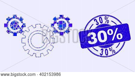 Geometric Gear Rotation Mosaic Pictogram And 30 Percents Seal. Blue Vector Rounded Distress Seal Sta