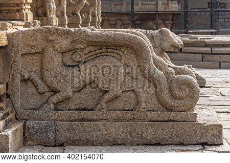 Hampi, Karnataka, India - November 5, 2013: Sri Krishna Temple In Ruins. Closeup Of Beige-stone Scul