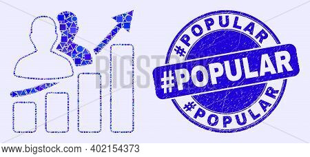 Geometric People Growing Chart Mosaic Pictogram And Hashtag Popular Seal Stamp. Blue Vector Rounded