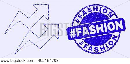 Geometric Trend Arrows Mosaic Pictogram And Hashtag Fashion Seal Stamp. Blue Vector Rounded Scratche