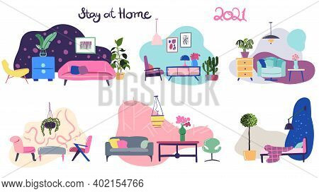 Vector Set Of Cosy Interior Design Drawings With Modern Furniture