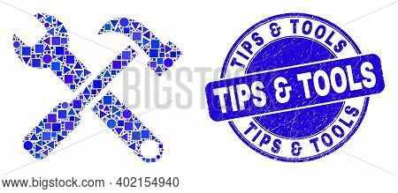 Geometric Tools Mosaic Pictogram And Tips  And  Tools Seal Stamp. Blue Vector Rounded Grunge Seal St