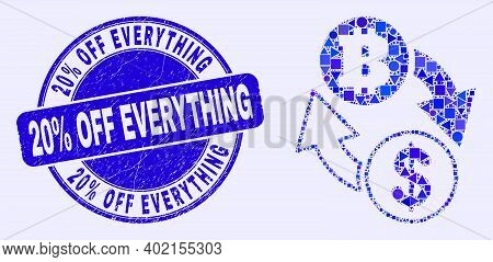 Geometric Dollar Bitcoin Exchange Mosaic Pictogram And 20 Percents Off Everything Stamp. Blue Vector