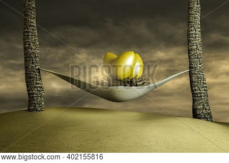 Nest With Golden Eggs Relaxing In The Hammock On Sand At Sunset Cloudy Day. Successful Retirement Or