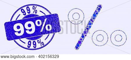 Geometric Per Mille Mosaic Pictogram And 99 Percents Seal Stamp. Blue Vector Round Textured Seal Wit