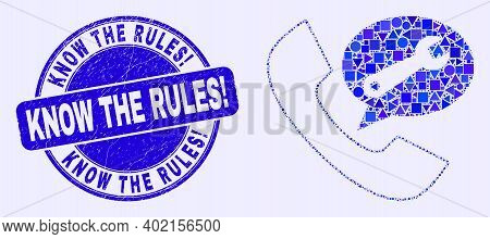 Geometric Phone Service Message Mosaic Icon And Know The Rules Exclamation Seal. Blue Vector Rounded
