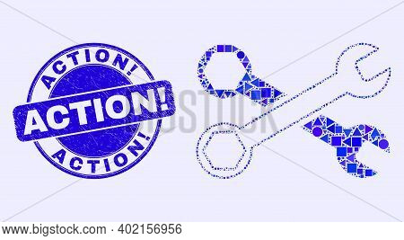 Geometric Wrenches Mosaic Icon And Action Exclamation Seal Stamp. Blue Vector Round Scratched Stamp