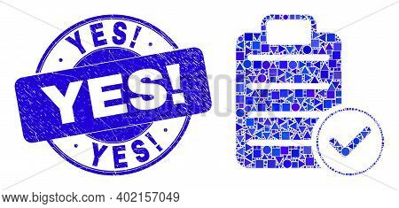 Geometric Accept Pad Text Mosaic Pictogram And Yes Exclamation Watermark. Blue Vector Round Grunge W