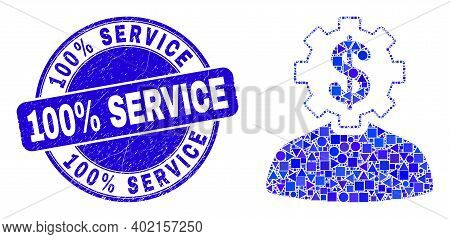 Geometric Banker Gear Person Mosaic Pictogram And 100 Percent Service Seal Stamp. Blue Vector Round