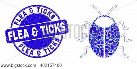 Geometric Bug Mosaic Icon And Flea And Ticks Seal Stamp. Blue Vector Rounded Distress Stamp With Fle