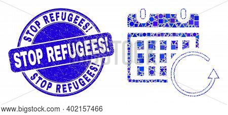 Geometric Calendar Rollback Mosaic Pictogram And Stop Refugees Exclamation Seal Stamp. Blue Vector R