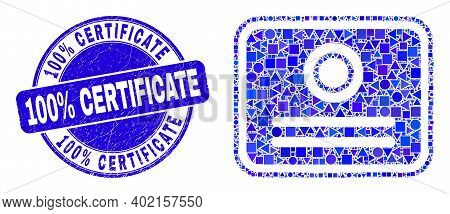 Geometric Certificate Mosaic Pictogram And 100 Percent Certificate Seal Stamp. Blue Vector Round Tex