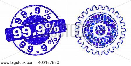 Geometric Cog Mosaic Pictogram And 99.9 Percent Seal Stamp. Blue Vector Round Textured Seal Stamp Wi