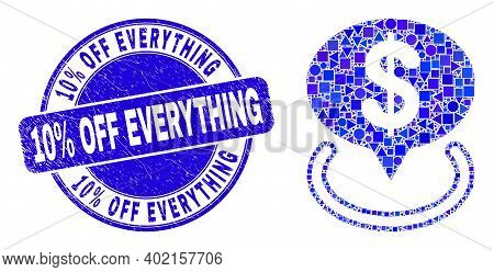 Geometric Dollar Placement Mosaic Pictogram And 10 Percent Off Everything Stamp. Blue Vector Round T