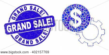 Geometric Dollar Setup Gear Mosaic Pictogram And Grand Sale Exclamation Stamp. Blue Vector Round Tex