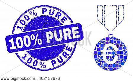 Geometric Euro Medal Mosaic Pictogram And 100 Percent Pure Watermark. Blue Vector Round Textured Wat