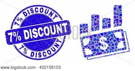 Geometric Financial Charts Mosaic Pictogram And 7 Percent Discount Seal. Blue Vector Round Grunge Se