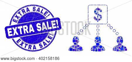 Geometric Financial Clients Links Mosaic Pictogram And Extra Sale Exclamation Seal Stamp. Blue Vecto