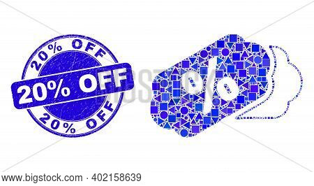 Geometric Percent Tags Mosaic Pictogram And 20 Percent Off Seal Stamp. Blue Vector Rounded Distress