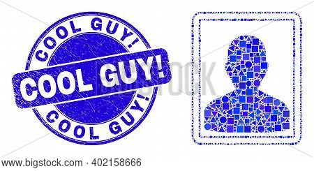 Geometric Person Portrait Mosaic Pictogram And Cool Guy Exclamation Watermark. Blue Vector Rounded T